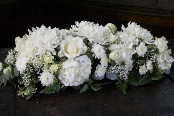 Long/Low White Flower Arrangements for Church Wedding
