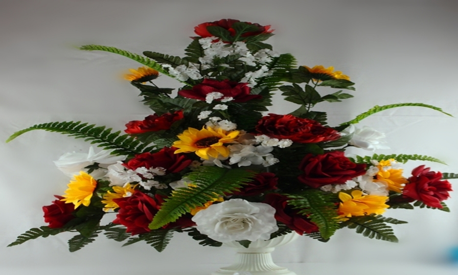 Red, Yellow & White Silk Flower Arrangements