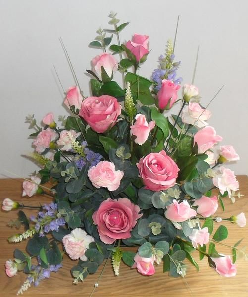 Artificial Silk Pink Rose Table Arrangement for Church