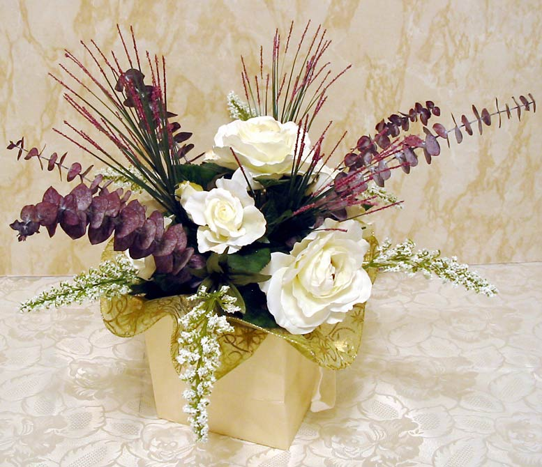Purple and White Silk Centerpieces