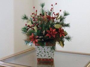 Homemade Christmas Fake Flower Arrangements Poinsettia Idea for Dining