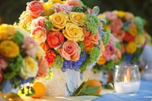 Coral and Yellow Wedding Flowers Matched with Roses
