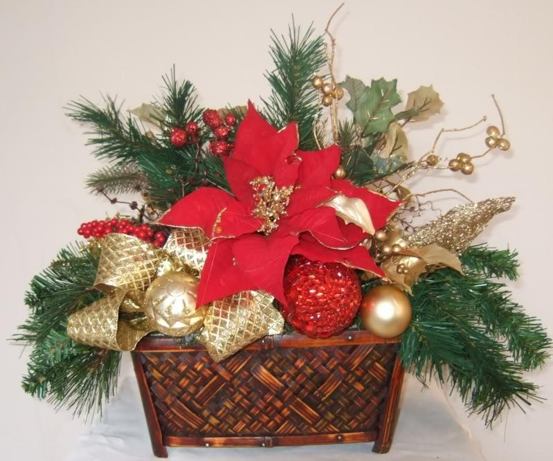 Christmas Silk Flower Arrangement Idea