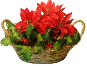 Christmas Silk Poinsettia Flower Basket Arrangement Ideas
