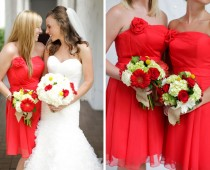 Red and White Silk Flowers Arrangement Idea for Wedding