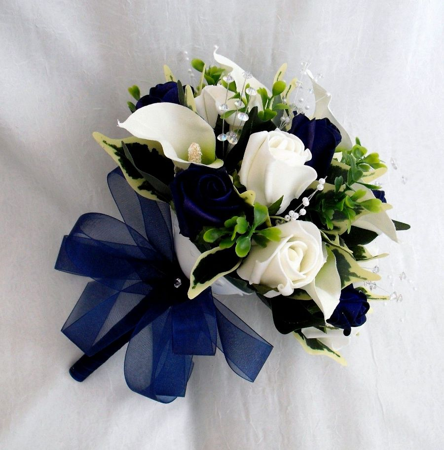White, Green and Purple Faux Flower Arrangements for Wedding