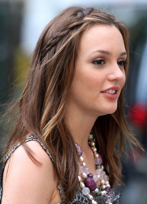 Leighton Meester Partially Braided Hairstyle
