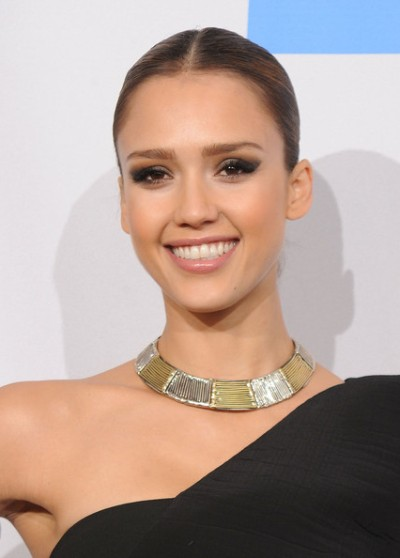 Jessica Alba Gold Collar Necklace for Long Neck