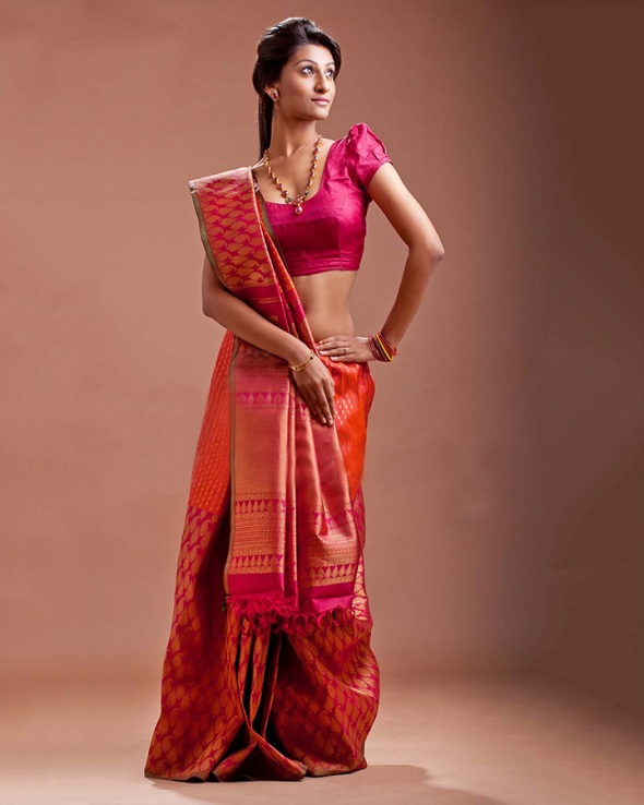Passionately Pink Saree for South Indian Brides