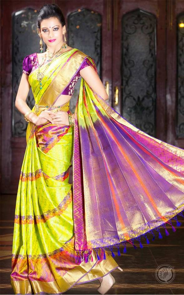 Green and Purple South Indian Saree Combination