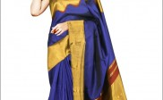 Vibrant Royal Blue and Gold Silk Saree