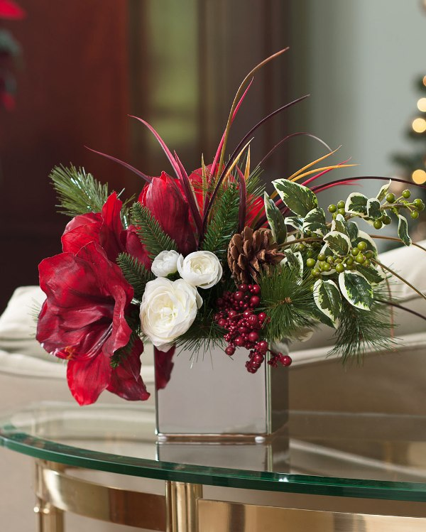 Amaryllis & Holly Silk Flower Accent
