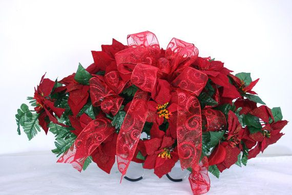 Christmas Red Poinsettia Silk Flower Cemetery Tombstone Saddle