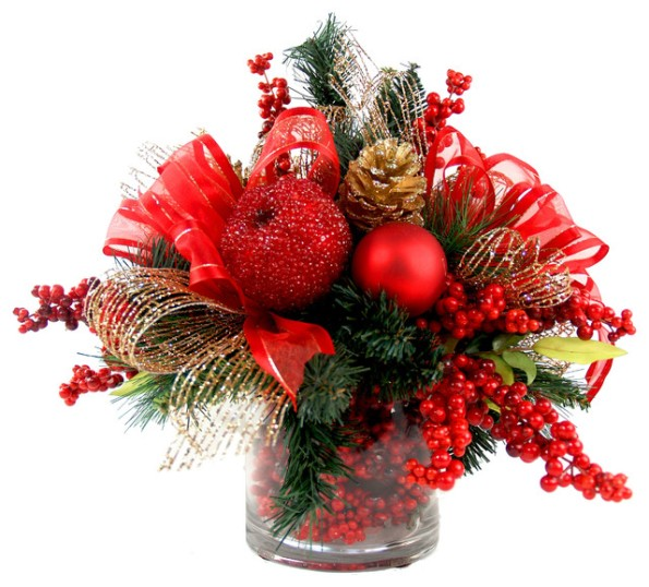 Iced Apple and Berry Floral Arrangement, Red, Gold and Green
