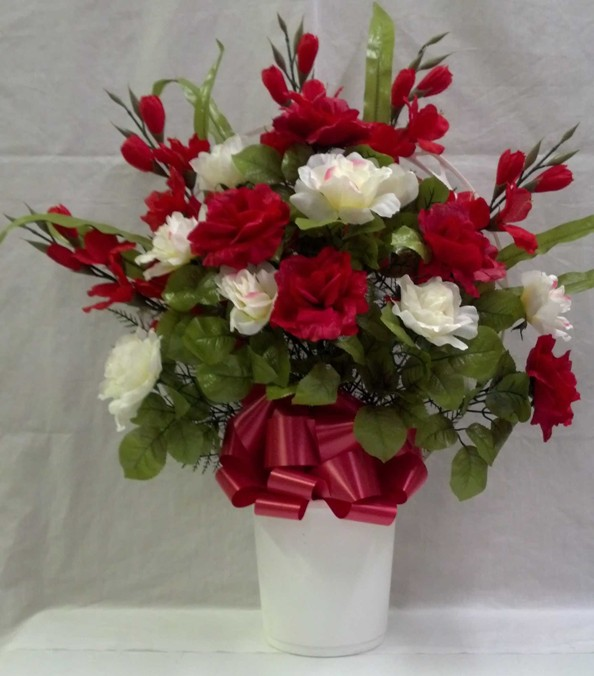 White Red Roses Silk Floral Arrangements