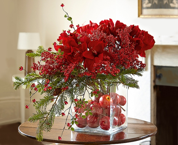 Red Floral Arrangements Centerpiece for Christmas