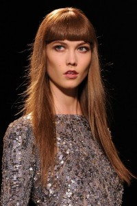 Karlie Kloss Long Straight Bangs Haircut